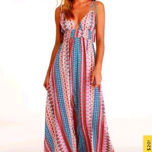 Lulu's Maxin' Relaxin' Multi Print Dress XS